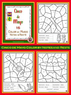 Music Lessons Cinco de Mayo   |   Color by music notes and rests    |   #musiceducation