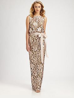 Tadashi Shoji Sequined Lace Gown. A different take on sequins, the lace design is sequined.