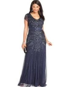 Adrianna Papell Plus Size Cap-Sleeve Embellished Gown - Blue