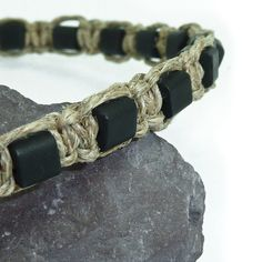 For him rustic linen bracelet for man macrame by JewelryForHim, $19.99
