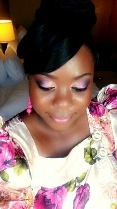 Sultry plum makeup rocking my Traditional Gomesi (Uganda)