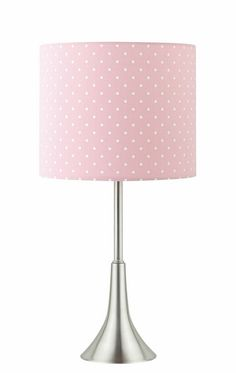 A.M.B. Furniture & Design :: Accessories :: Table Lamps :: Brushed nickel metal table lamp with polka-dotted shade in a cotton candy color