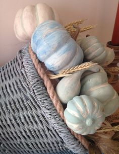 cornucopia with chalk painted pumpkins
