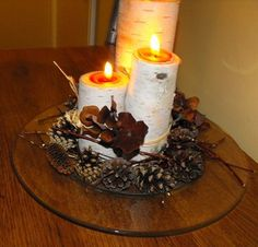 birch log candle holder - Google Search