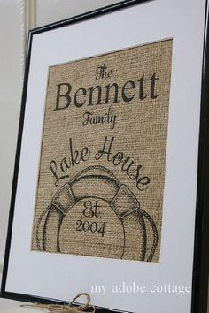 Personalized Lake House Burlap Print...great housewarming gift, anniversary gift, wedding gift on Etsy, $20.00