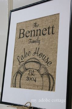 Personalized Lake House Burlap Print...great housewarming gift, anniversary gift, wedding gift on Etsy, $20.00