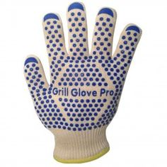 #1 Barbecue Gloves - Barbecue and Oven Gloves - 2 Professional Premium Cooking Gloves Heat Resistant by Grill Glove Pro - Made of Nomex and Kevlar fibers that firefighters have on their coat so these are absolutely fireproof, repel heat while they fit snugly to your hands for sure control and hold. High-quality silicone dots are all over the gloves to ensure no-slip on whatever you hold while the inside double layer is made of 100% to allow your hands to breath.