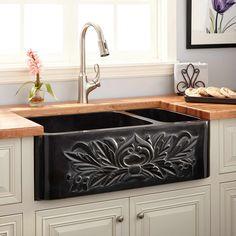 "33"" Ivy 70/30 Offset Double-Bowl Polished Granite Farmhouse Sink - Black"