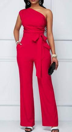 One Shoulder Zipper Closure Rose Red Jumpsuit Rotita USD 29 86 Red Jumpsuit, Jumpsuit Outfit, Casual Jumpsuit, Look Fashion, Womens Fashion, Jumpsuit Pattern, Mode Outfits, Jumpsuits For Women, Fashion Dresses