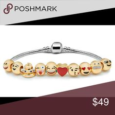 Emoji Charm Bracelets Emoji Charm Bracelets Wear your heart on your wrist with these sweet, eye-catching emoji charm bracelets  Express yourself with emojis Assorted expressions and styles 18K yellow gold plated beads Bracelet length: 19cm. Barrel clasp other Jewelry Bracelets