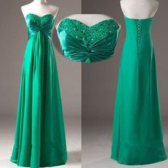 Pretty Green Simple And Elegant Prom Gown 2015 With Beadings,#dress