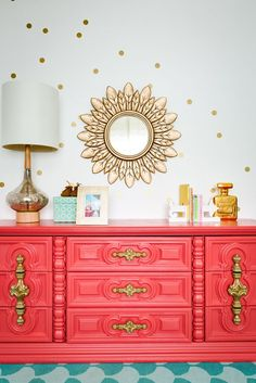 Vintage Coral Dresser and Gold Nursery Accents - baby bedroom decor design perfection, including this confetti polka dots wall art! Nursery Furniture, Diy Furniture, Coral Painted Furniture, Children Furniture, Furniture Dolly, Furniture Stores, Coral Dresser, Gold Nursery, Modern Victorian