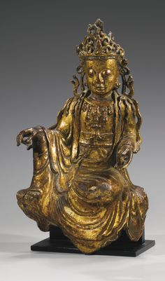 明十六/十七世紀 銅漆金菩薩坐像27.5 公分 | Lot | Sotheby's