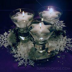 Iridescent glitter decorative snowflakes Snowflake Centerpieces, Dollar Tree Centerpieces, Floating Candle Centerpieces, Christmas Centerpieces, Centerpiece Decorations, Christmas Decorations, Glitter Decorations, Centrepiece Ideas, Christmas Vases