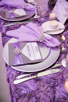 photo: Hagerty Photography So cool. Great for purple weddings wedding reception idea; photo: Hagerty Photography So cool. Great for purple weddings Purple And Silver Wedding, Lilac Wedding, Purple Wedding Flowers, Wedding Colors, Dream Wedding, Lavender Weddings, Wedding Centerpieces, Wedding Table, Wedding Reception