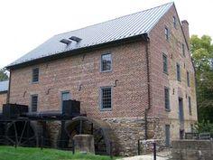 Aldie Mill.  Double Water Wheels.  Back Right of Main Building. Loudoun County, Virginia. Loudoun County, Virginia