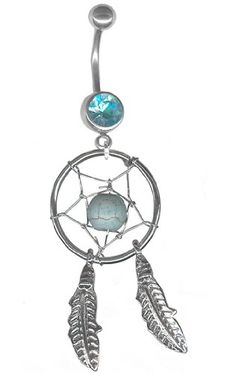 Aqua Dream Catcher Belly Rings Navel Rings Body Jewelry-5 post lengths available
