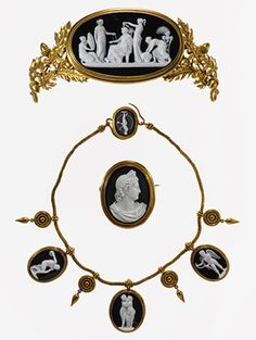 Parure: Tiara, Brooch, and Necklace, mid-19th century Luigi Saulini (Italian, 1819–1883) Rome Onyx; all mounted in gold (with a tortoiseshell comb [not illustrated] for the tiara)