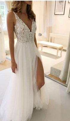 A-Line Wedding Dress with Lace, Backless Wedding Bride Dress, Unique Wedding Dresses Boho Wedding Dress With Sleeves, V Neck Wedding Dress, Wedding Dresses With Straps, Wedding Dresses 2018, A Line Prom Dresses, Wedding Dress Trends, Backless Wedding, Gowns With Sleeves, Tulle Wedding