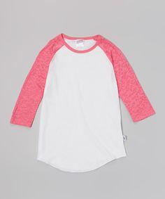 This White & Carmine Rose Raglan Baseball Tee by Soffe is perfect! #zulilyfinds