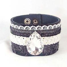 Real Leather Bracelet with Swarovski Drop by SteelJewelryShop