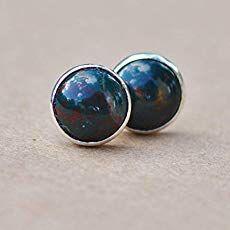 30ee9e3de Red Tiger eye earrings, sterling silver Tiger's eye jewellery, 8mm: Amazon. co