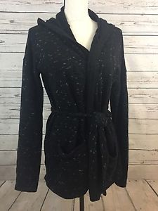 LUCKY LOTUS by Lucky Black Wrap Tie Belted Cardigan Womens Sz MEDIUM   | eBay