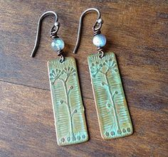 Etched Copper Earrings with...  from annemoorejewelry