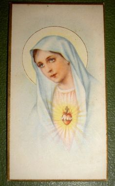 IMMACULATE HEART OF MARY OLD GOLDPRINT HOLY CARD