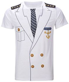 Men's Captain Costume T-Shirts Funny Cosplay Halloween Tee Adult Man Top Cowboy Pirate Clown Pilot Uniform Carnival Plus Size 3d T Shirts, Casual T Shirts, Branded T Shirts, Funny Shirts, Funny Jokes, Sailor Costumes, T Shirt Costumes, Cosplay Outfits, Cosplay Costumes