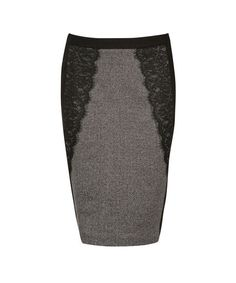 Lace Detail Pencil Skirt, Grey/Black