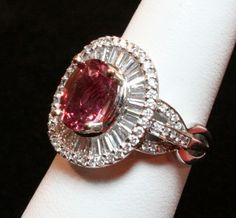 18k White Gold Padparadscha Sapphire & Diamond Ring from classicfacets on Ruby Lane