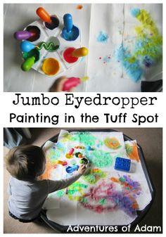 Kitchen Paper Painting Tuff Spot | http://adventuresofadam.co.uk/kitchen-paper-painting-tuff-spot/