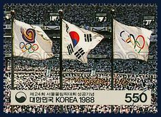 Postage Stamp in Commemoration of the successfully completed Games of the XXIVth Olympiad Seoul 1988, 24th the 1988 Seoul Summer Olympics, Korean flag, the Olympic flag, commemoration, white, black, red, 1988 12 20, 제24회 서울올림픽대회 성공기념, 1988년 12월 20일, 1554, 제24회 서울올림픽대회 개막식, postage 우표