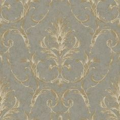 Saint Augustine Stormy Gray, Steel Gray and Gleaming Gold Neoclassical Damask Wallpaper