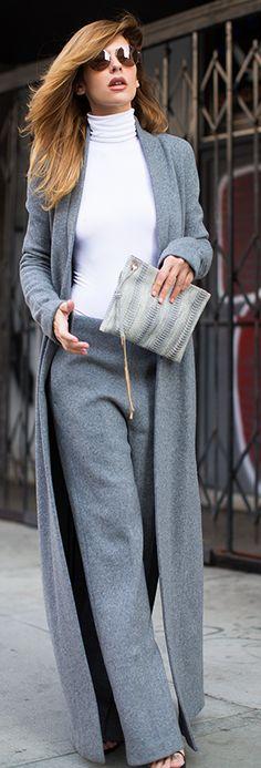 Gray Deep Neckline Long Line Coat by. V