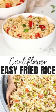 Easy Paleo Cauliflower Fried Rice Recipe - Low Carb - This low carb paleo cauliflower fried rice recipe shows you how to make cauliflower rice stir fry FAST. It's the easiest, best way to cook cauliflower rice. #wholesomeyum #keto #lowcarb #dinner #rice #paleo