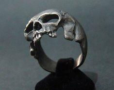 Unique Sterling Silver Skull Ring MASONIC Biker by silverzone88