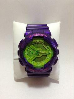 Customized Original G-Shock GA110  [ AYAME ]  Base Watch : Hyper Green [GA-110B-1A3JF] Vesel Portion : Crazy Purple [GD-100SC-6JF] Top Band : Crazy Purple [GD-100SC-6JF] Bottom Band : Crazy Purple [GD-100SC-6JF]
