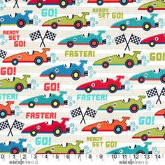 Fabric for quilt or craft Michael Miller Race Cars in Multi Half yard