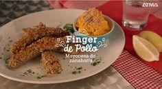 Mayonesa de zanahoria con fingers de pollo