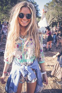 Chill boho look with fun color and pattern, add round sunglasses and bracelets for extra accessory cuteness!