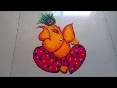GANESH (Ganpati)ji ki rangoli design made by Jyoti Raut Rangoli Easy Rangoli Designs Diwali, Indian Rangoli Designs, Simple Rangoli Designs Images, Rangoli Designs Latest, Rangoli Designs Flower, Small Rangoli Design, Colorful Rangoli Designs, Rangoli Ideas, Diwali Rangoli