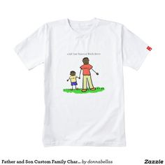 """#Asian #Father & #Son (Dark Skin) Custom #Family Characters Art #Shirt - Drawing features father and son holding hands. Man's shirt reads """"daddy"""" & the little boy's shirt reads """"me"""". There are multiple ethnic family parent and child versions. Order matching daddy and me t-shirts with your own custom family nicknames! You can personalize the family t-shirt art drawing for a special personalized Father's Day gift, new #Daddy and baby boy, or Family Reunion!"""