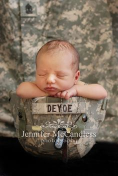 Colorado Springs newborn photography Jennifer McCandless Photography: Newborn military photography helmet dogtags
