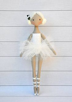 ballerina Doll,Dancing Girl ,Textile doll, decorative doll , doll cotton, rag doll Height of doll 36cm (14 inches) Ballerina is sewn of natural materials, cotton,skirt is made of tulle. This doll decorate the interior of a childs room Made with in a smoke free home. Please contact me