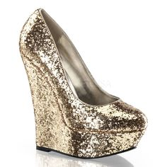 PLEASER LUSTER-20 Plateau Pumps Pink Glitter Wedge Glam Burlesque Disco Gogo Hot