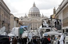 News crews from around the world begin to stake out their positions around Vatican City for the upcoming papal conclave that will elect the successor to Benedict XVI. 13 February 2013