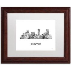 Trademark Fine Art 'Denver Colorado Skyline WB-BW' Canvas Art by Marlene Watson, White Matte, Wood Frame, Gray