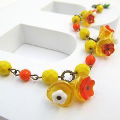 FEB 2012, Wales - Daffodil Daze Czech glass bead and brass bracelet, by beady daze